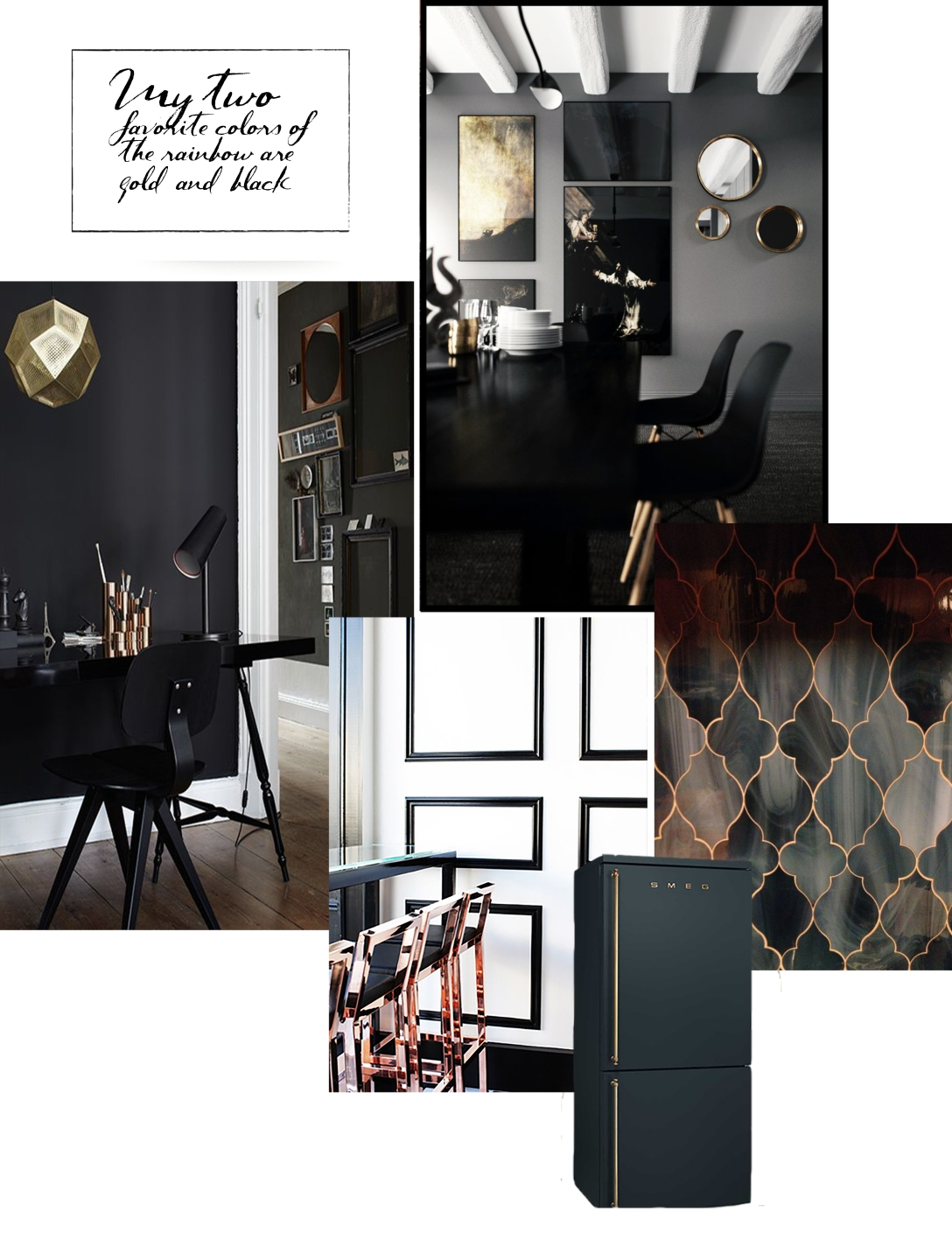 thosepatternedwalls collage black & gold